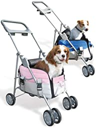The Paws Aboard Pet Valet: Dog Travel Carrier and Stroller Combo~Pink