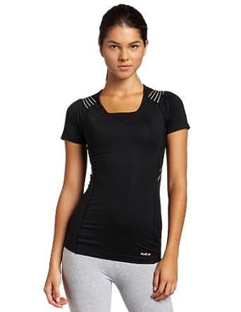 Reebok Women's Easytone Short Sleeve Top (Black, Large)