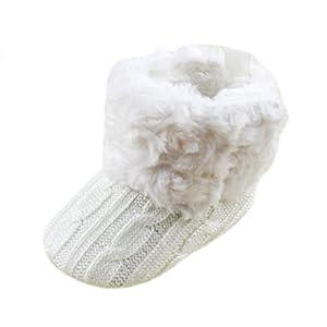 SODIAL (R) infantil del bebe del ganchillo / Tejer de lana Botas para nina pequena Lana Cuna Nieve Zapatos Botines Blanco - M por SODIAL (R)