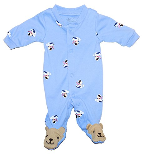 Carter's Dog Flying Plane Patterned Baby Boys Footed Dress Up Bodysuit Outfit