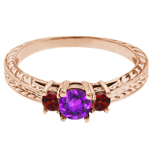 0.60 Ct Round Purple Amethyst Red Garnet 18K Rose Gold 3-Stone Ring