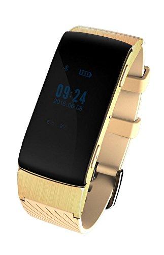 Bluetooth Smart Bracelet Headset Earphone Smartwatch Waterproof Touch Screen Fitness Tracker Pedometer Anti-theft Looking Phone for Smartphones DF22 (gold)