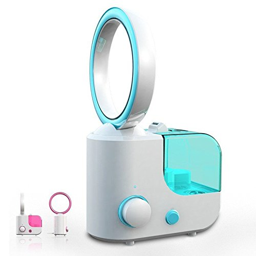 Rubility Portable Mini USB Rechargeable Fan Dual-use Humidifier Fog Wind Air Humidifier No Leaf Fan (Blue) (Fan Blade Less compare prices)