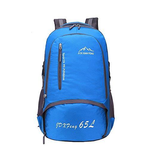 All'aperto alpinismo borsa 2016 nuovo moda unisex impermeabile zaino borsa 65L , blue