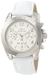 Invicta Women's 11718 Wildflower Silver Textured Dial White Leather Watch with Crystal Accents