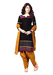Reya Womens Printed Cotton Dress Material (427_Black)