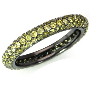 Sapphire Yellow CZ Sterling Silver Eternity Band Stack/Stackable Ring Size 7.5