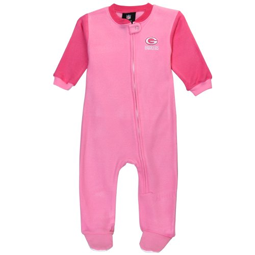 Green Bay Packers Girls Pink Sleeper Coverall Pajamas 2 tone (6-9 Months) at Amazon.com