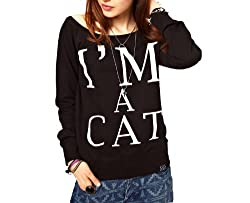 WIIPU Women Outwear Printed I am Cat Black Wide Sweaters(J138) (M)
