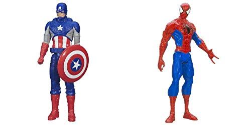 Super Hero Captain America vs Spider-Man 12 inch Titan Hero Series Action Figures Toys (Spiderman Vs Captain America compare prices)