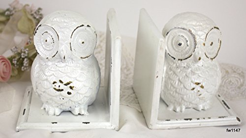 Hoot Owl Bookends Set ~ Cast Iron Distressed Glossy White