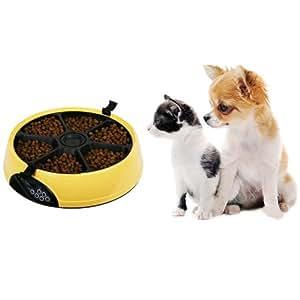 Floureon® Pet Feeder automatique programmable 6 repas par jour nourriture jetables, humides et aliments secs LCD automatique Pet Feeder pour chat ou chien