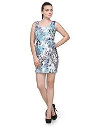 Purplicious Womens Crepe Dress (Pldrs22_Lm _Peacock Blue _Large)