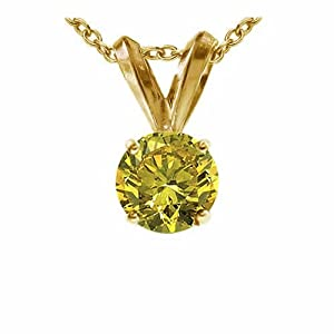 1.50 CT Yellow Diamond Solitaire Pendant 14K Yellow Gold
