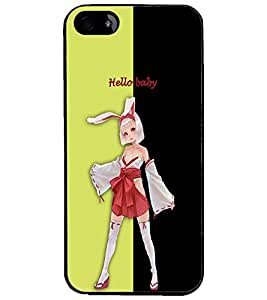 PrintDhaba Bold girl D-3207 Back Case Cover for APPLE IPHONE 4 (Multi-Coloured)