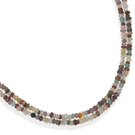 Sterling Silver 16 + 2 Inch Double Strand Faceted Gemstone Necklace