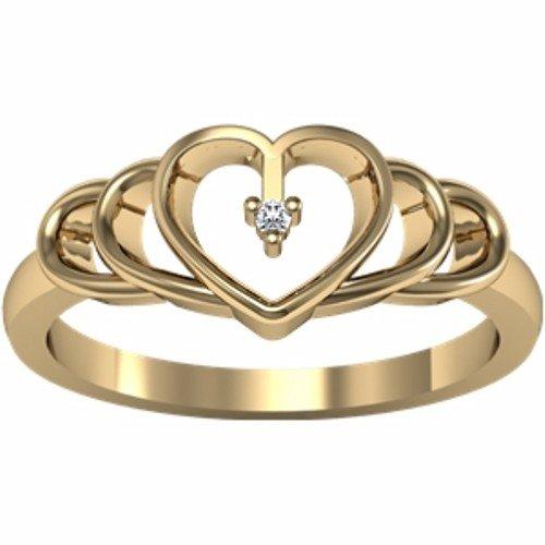 18K Yellow Gold Diamond Heart Ring - 0.01 Ct. - Size 5