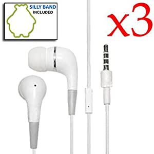 3 Pack In-Ear Earphone Headphone with Mic for Apple iPhone 4 4G 4S (White)