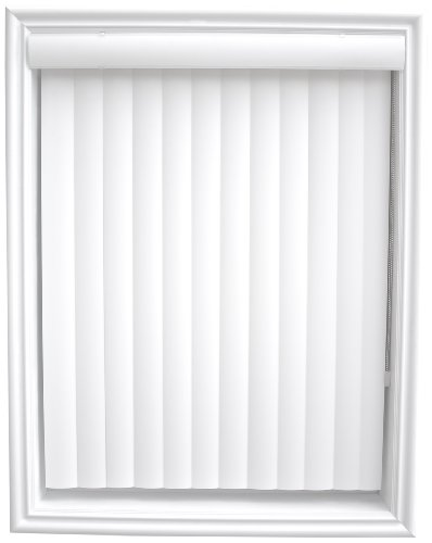 New Age Simplicity Collection One Way Opening Curved Vertical Blinds with Square Corner Valance, Inside Mount, 104 by 43-3/4-Inch, White