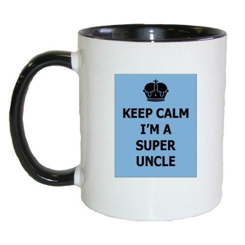 Mashed Mugs - Keep Calm I'M A Super Uncle - Coffee Cup/Tea Mug (White/Black)