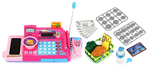 KX Ultimate Supermarket Pretend Play Battery Operated Toy Cash Register w/ Working Scanning Action & Real Calculator, Mock Scale, Money, Credit Card, Groceries (Kids Scanning Cash Register compare prices)