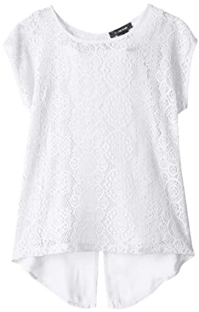 My Michelle Big Girls' Lace Front High-Low Top, White, Small