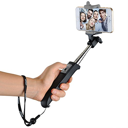 Mpow iSnap Y One-piece Portable Self-portrait Monopod Extendable Selfie Stick with built-in Bluetooth Remote Shutter for iPhone 6s, 6, 5s, Android and All Other Smartphones - Black
