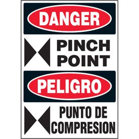 POINT / PELIGRO PUNTO DE COMPRESION (w/graphic) - Standard Adhesive
