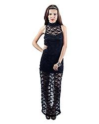 Envy Women's Blended Banded Collar Dress (Black, Free Size)
