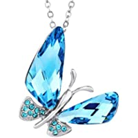 Ananth Jewels Swarovski Elements Blue Crystal Butterfly Pendant for Women