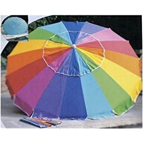 Rainbow 8' Beach Umbrella with Carry Bag - Towa Umbrella