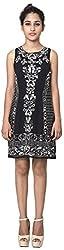 Izna Women's Slim Fit Dress (IDWD1022BLK-Small, Black, Small)