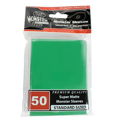 Sleeves - Monster Protector Sleeves - Standard Size Super Matte - GREEN (Fits MTG Magic the Gathering and Other Standard Sized Gaming Cards) - 1