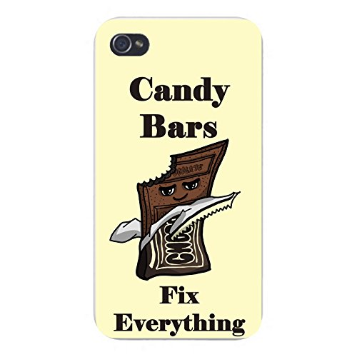 apple-iphone-custom-case-5-5s-white-plastic-snap-on-candy-bars-fix-everything-food-humor-cartoon