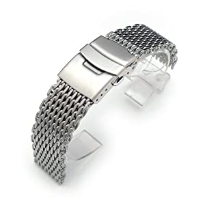 "19mm Ploprof 316 Reform Stainless Steel ""SHARK"" Mesh Milanese Watch Band, Brushed, AA"