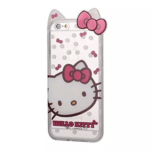 [iphone 6 Hello Kitty Case,iphone 6S Case,Cartoon Hello Kitty Bow Cat Ears Transparent Rubber Soft TPU Hybrid Case Cover for Apple iphone 6 6S 4.7inch (Style] (Hello Kitty Ears)