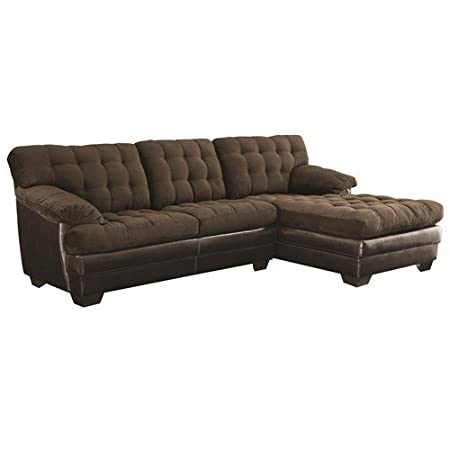 Janie Two Piece Button-Tufted Sectional Sofa With Vinyl Accents By Coaster Furniture