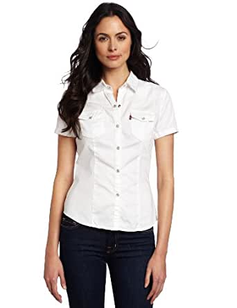 Levi 39 s women 39 s short sleeve snap front western shirt for Women s short sleeve button down cotton shirts