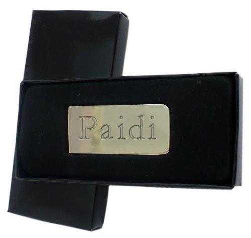 Chrom Geldklammer mit eingraviertem Namen: Paidi (Vorname/Zuname/Spitzname)