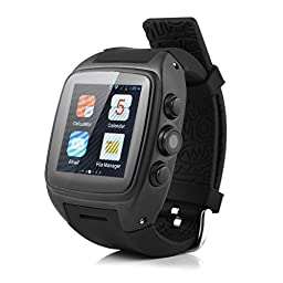 IMacwear M7 Unlocked Watch Cell Phone Android 4.2.2 OS MTK6572 Cortex A7 Dual-core 4GB ROM,GSM / WCDMA, 5MP Camera,WiFi 802.11 b/g/n,Heart Rate Monitor,Waterproof IP67,GPS Black