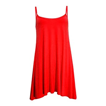 New Womens Plain Cami Sleeveless Ladies Swing Mini Dress Long Top (S/M 8-10, RED)