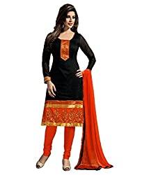 Regalia Ethnic New Collection Black And Orange Chanderi Cotton Embroidered Unstitched Dress Material With Matching Dupatta