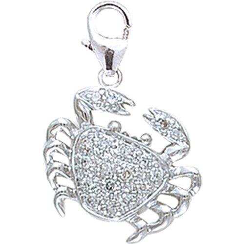 14K White Gold Diamond Crab Charm