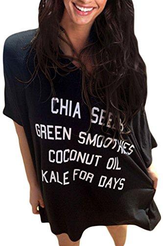 Sidefeel Women's Baggy T-shirt Swimwear Bikini Cover-up Beach Dress Large Size Black