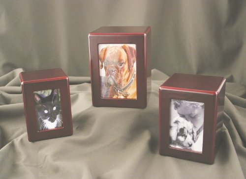 Pet Urn Cherry Wood Finish Dog Cat Animal Urn Photo Box Urn (For Pets Up To 40 Lbs.)