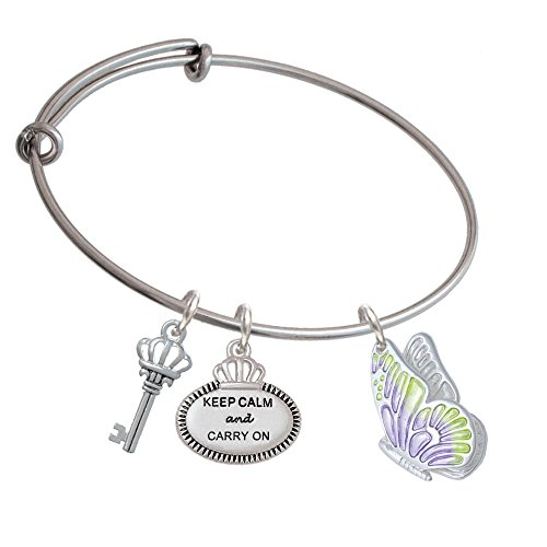 Large Translucent Purple & Lime Green Flying Butterfly Keep Calm Expandable Bangle Bracelet