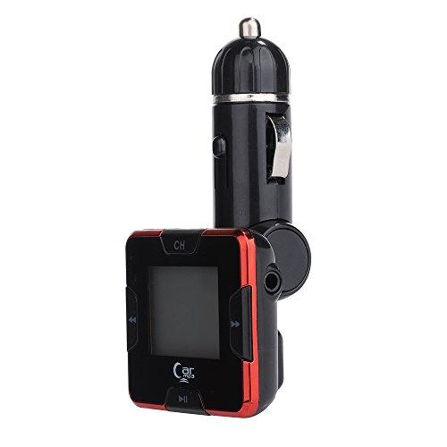 VicTsing Drahtlose Bluetooth LCD Display Car Kit MP3 MP4 Player FM-Transmitter mit 3,5 mm EQ-In, USB-Festplatte und unterstützt Micro-SD-Karte für iPhone 6 6Plus 5 5S 5C iPad Air Mini 2 Samsung Galaxy S2 S3 S4 S5 Galaxy Note Nexus 3 2 5/4 HTC One Blackberry-Z10 Sony Xperia Z2 - Unterstützung Freisprecheinrichtung Handsfree (Rot)