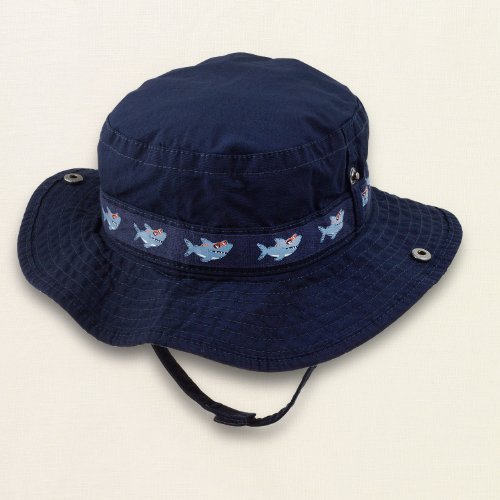 Navy Blue Bucket Hat With Decorative Shark Taping Around The Crown - Boys (6-12 Months) front-598685
