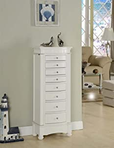 Nathan Direct J1016ARM-L-W Muscat 8 Drawer Jewelry Armoire