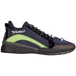 Dsquared2 scarpe sneakers uomo in pelle nuove 551 nabuk blu